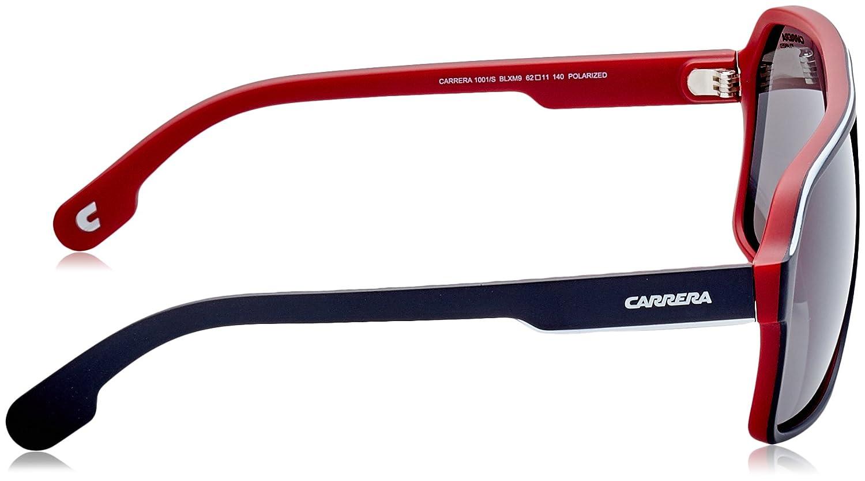4cb189ba58f7 Amazon.com: Carrera Men's 1001/s Polarized Aviator Sunglasses MATTE BLACK  RED 62 mm: Carrera: Clothing
