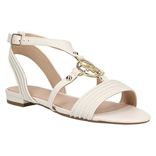 Guess Sandales Femme Rayelle Blanc: : Chaussures et