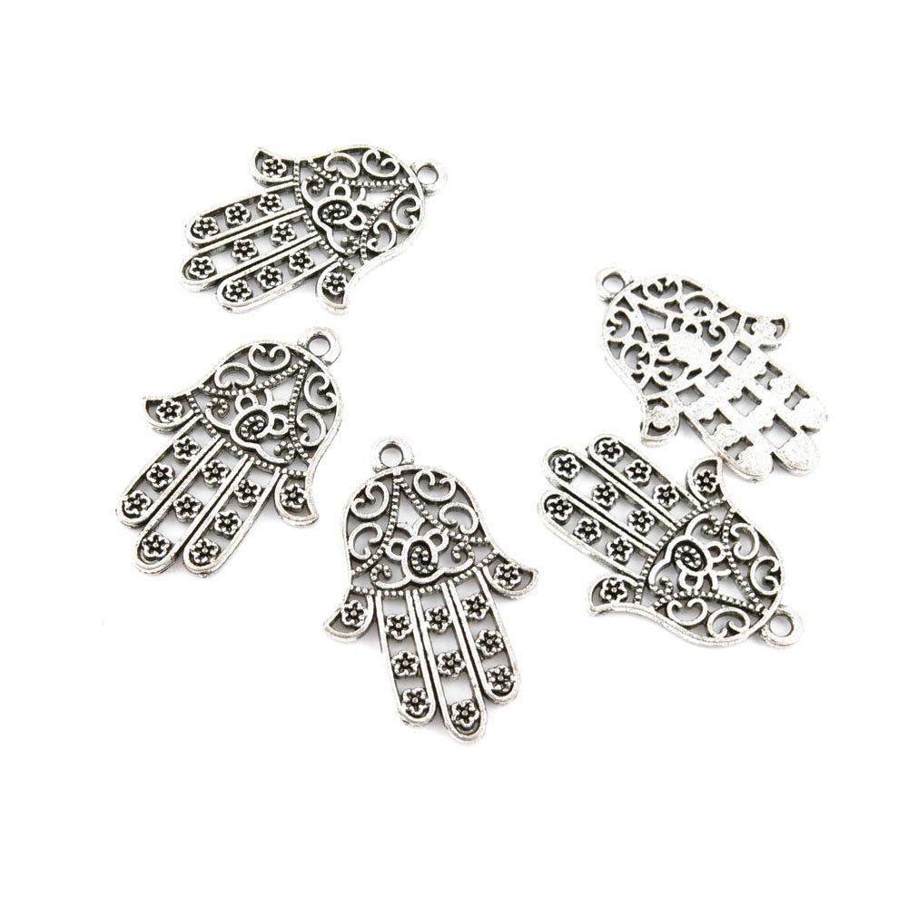 15 Pieces Jewelry Making Charms Retro Silver Tone for Necklace Pendant Bracelet Findings Vintage Bijoux Breloques Bulk 71007 Buddha Palm YAOLIHONG