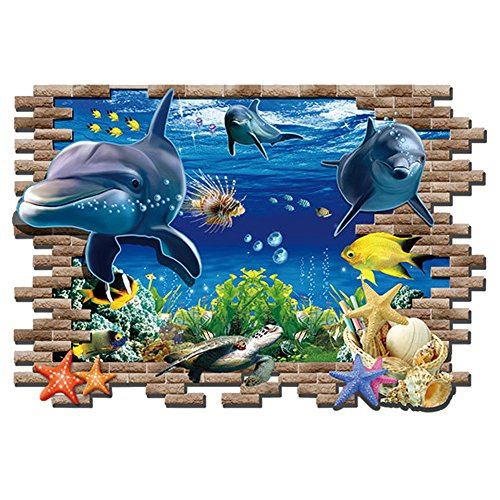 Kaimao Wall Decal 3d Mural a Corner of Sea World Removable Wall Stickers for Wall and Ceiling Home Decor