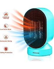 SGODDE Calefactor Eléctrico, Mini Calentador de Ventilador, Calentador Rápido de Elementos de Calefacción de PTC, Calentador de Escritorio Portátil de Bajo Consumo de Energía de 600 Vatios