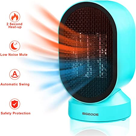 Space Heater Electric Indoor Heater Under-Desk Heater for Home and Office Ceramic Small Heater Desk Heater with Adjustable Thermostat