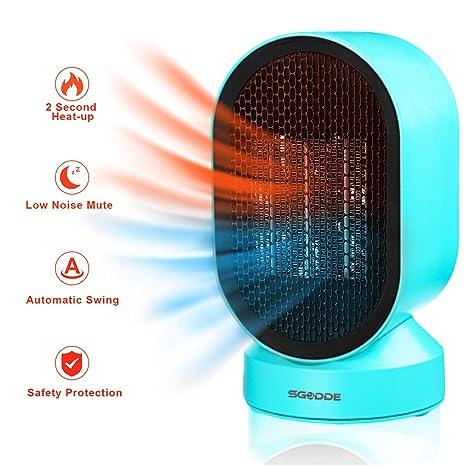 SGODDE Calefactor Eléctrico, Mini Calentador de Ventilador, Calentador Rápido de Elementos de Calefacción de