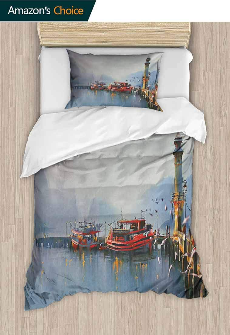 Country Custom Made Duvet Cover and Pillowcase Set, View of a Misty Morning at The Harbor with Boats and Birds in Old Fishing Town Art, Decorative 2 Piece Bedding Set with 1 Pillow Sham Multicolor