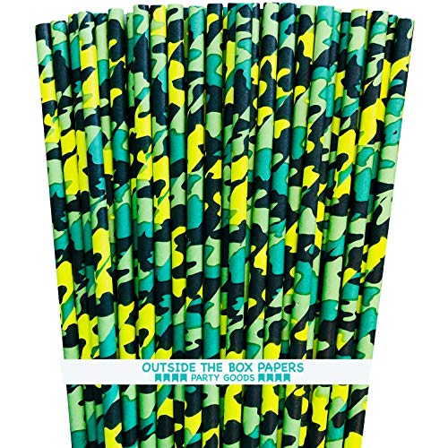Camo Themed Paper Straws - Green Black - 100 Pack ()