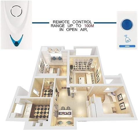 Couleur: Blanc /& Bleu 504D LED Carillon sans fil Sonnette Sonnette et T/él/écommande T/él/écommande 32 Morceaux De M/élodies Blanc S/écurit/é /À La Maison Utilisez Sonnette Intelligente