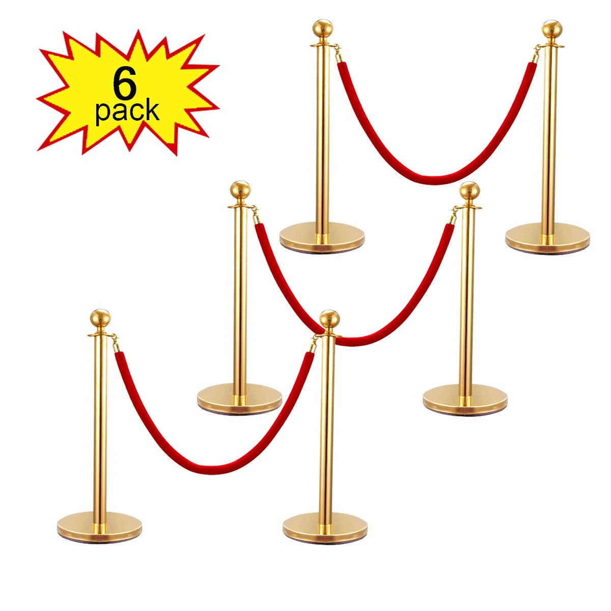 Pack of 6 Ball Round Top Stanchion Posts Set Queue Safety Barrier with Red Velvet Ropes, Gold