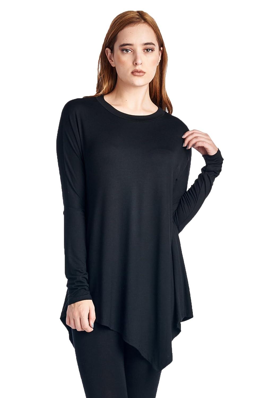 82 Days Women'S Rayon Span Long Sleeves Handerchief Hemline Tunic - Solid