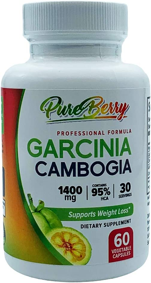 PUREBERRY - 1400mg Garcinia Cambogia Professional Formula Diet Supplement & Weight Loss Aid Helps Boost Metabolism, Curb Hunger & Increase Energy All Natural for Men & Women 60 Capsules