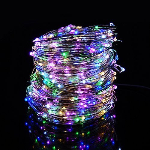 12 Christmas Volt Lights (ER CHEN Led String Lights 500 Leds Multicolored Color on Silver wire 165ft LED Starry Light with 12V Power Adapter For Christmas Wedding and Party)