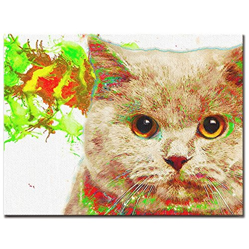 HAPPY PET ワンにゃんアートキャンバス 【Watch】ブリティッシュショートヘア (L) B075TX6WM2Large