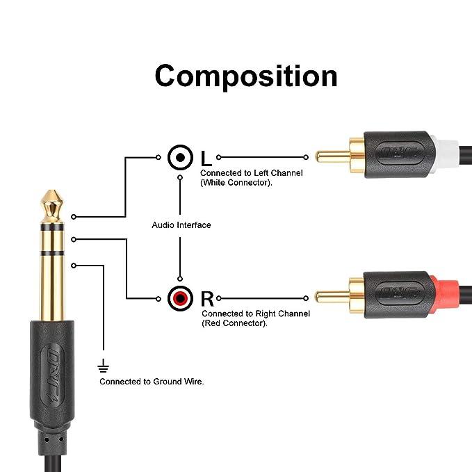 Serie Audiowave 1//4 Pollice Maschio a 2 RCA Maschio Adattatore Sdoppiatore Audio Stereo RCA Cavo RCA Cable Oro-Placcato JD 6,35 mm a 2RCA Cavo 6 Feet 6,35mm