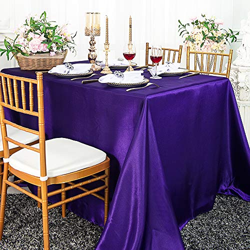 Wedding Linens Inc. 54″ x 108″ Rectangular Seamless Satin tablecloths Table Cover Linens for Restaurant Kitchen Dining Wedding Party Banquet Events – Regency Purple
