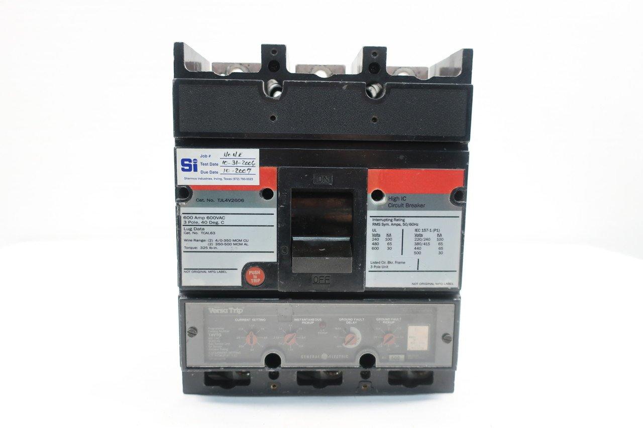 GENERAL ELECTRIC GE TJL4V2606 600A 3P MOLDED CASE CIRCUIT BREAKER ...