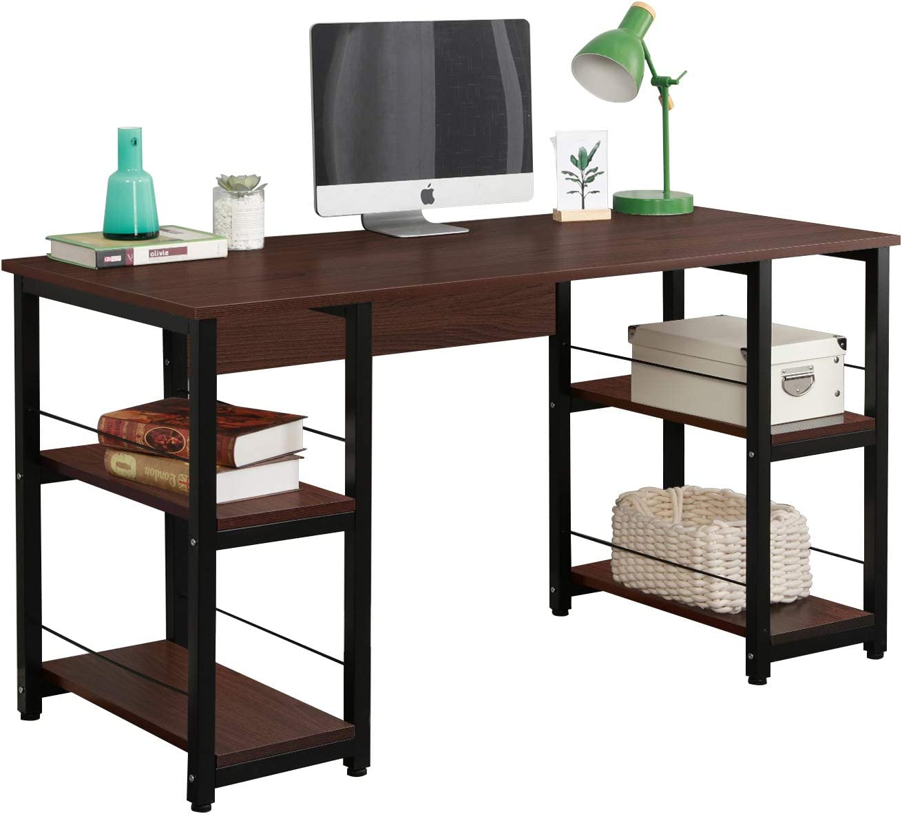 DlandHome 55 inches Computer Desk w/Open Storage Shelves for Both Side, Multifunction Trestle Desk, Home Office Desk/Studio Workstation, DZ012, Walnut