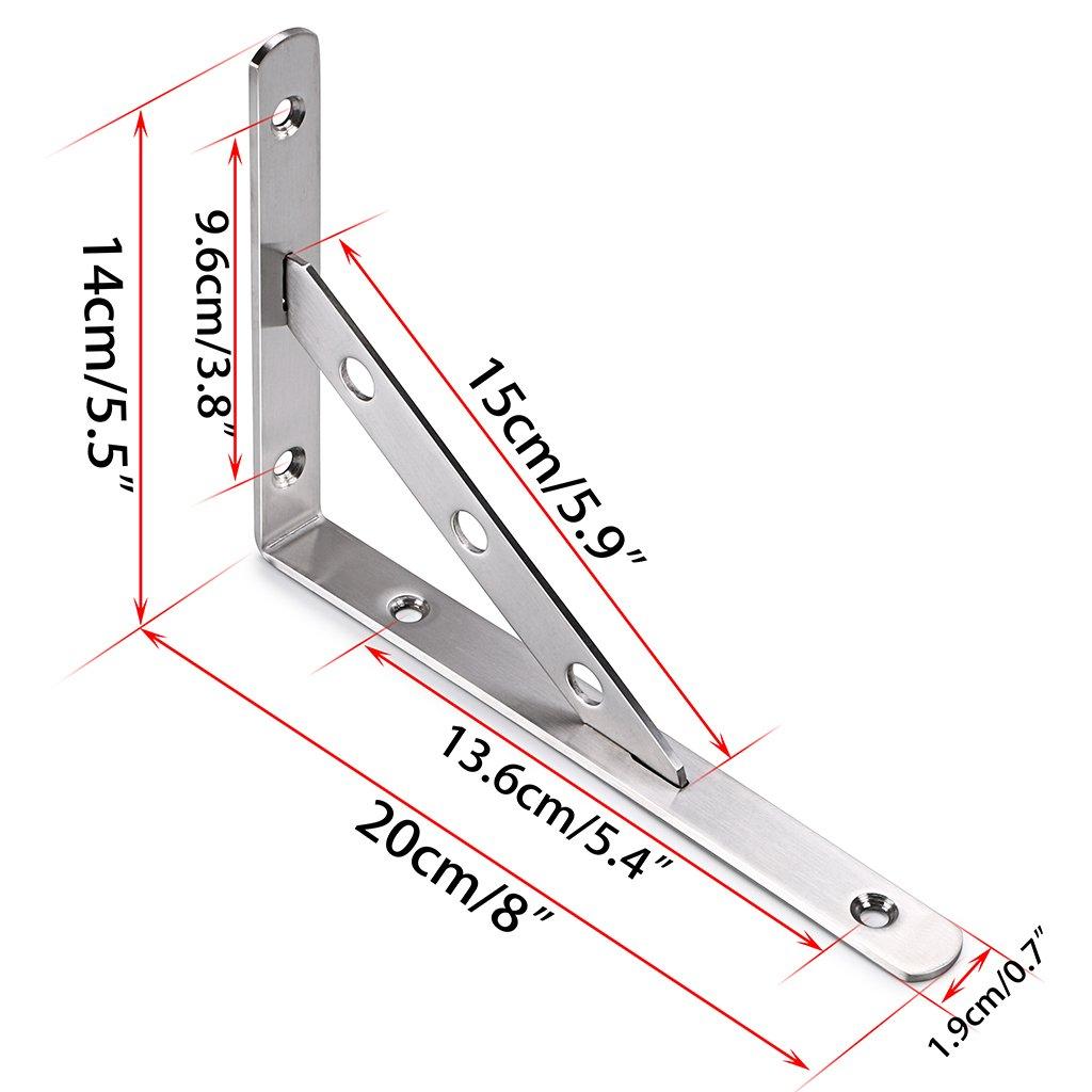 Btsky 1 Paar Edelstahlregalhalterungen Winkelhalterung abnehmbares Dreieck Regalst/ütze Wandhalterung