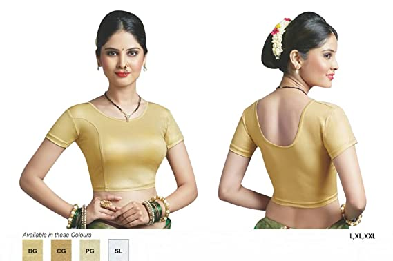 d18cd28da027c Amazon.com  Designer Crope Top Women Choli Indian Lycra Stretchable Golden Saree  Blouse Wedding Party Wear Best Match for Saree By thnic Emporium  Clothing