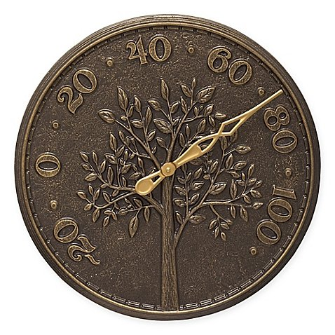 Whitehall Products Tree of Life Outdoor Thermometer in French Bronze