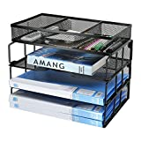 Besource Mesh 3-Tier Office Desktop File Organizer Stackable Desk Organizer Letter Paper Tray with Compartment, Black