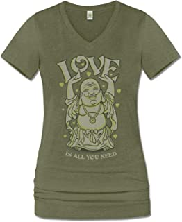 product image for Women's Love Buddha Organic Cotton Recycled Short Sleeve T-Shirt - Ladies Long Green V-Neck Graphic Tee