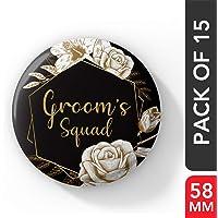 LASTWAVE Groom Squad Wedding Badges for Groom WDC-236 (Pack of 15, 58 mm)