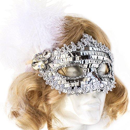 Mardi Gras Feather Headpiece (Masquerade Mask Venetian Mardi Gras Halloween Costume Sequin)