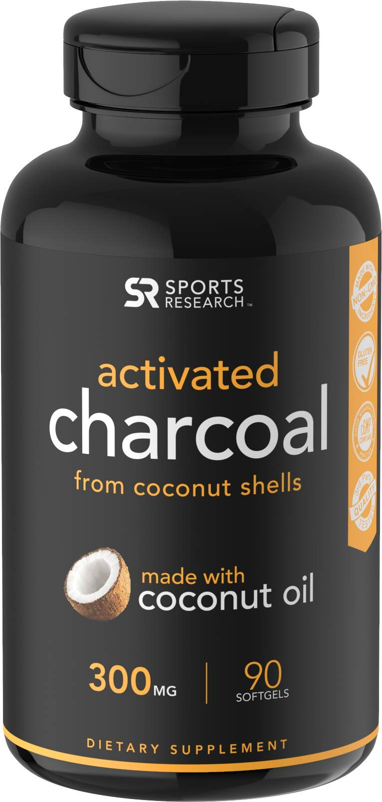 Coconut Activated Charcoal Liquid Softgels | Fast detoxing for better digestion | Non-GMO & Gluten Free