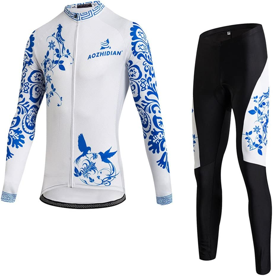 Womens Cycling Jersey Long Sleeve Winter Fleece Thermal Set Riding Outfits Bicycle Clothes
