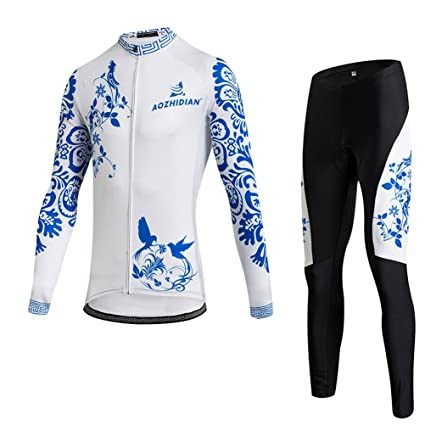 e4155c750 Uriah Women s Thermal Fleece Cycling Jersey Long Sleeve and 3D Gel Padded  Pants Sets Blue White
