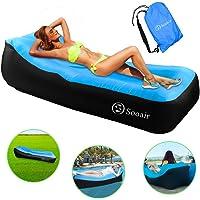 Sooair Opblaasbare sofa, outdoor, draagbare opblaasbare sofa, outdoor, camping, park, strand, achtertuin, sofa, outdoor blauw