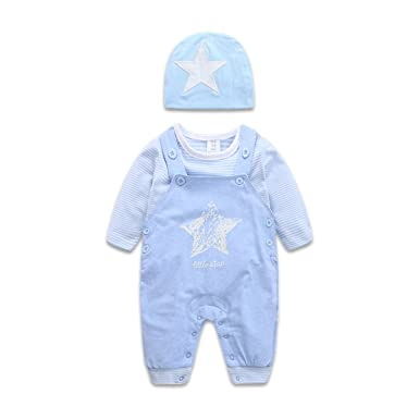 75b7e1f31312b Boarnseorl Newborn Baby Boy and Girl Clothes Set Infant Long Sleeve  Tops+Overalls+Pants+Hat 3PCS Outfit Suit