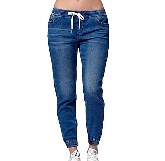a58c695627 Pantaloni stile boyfriend di moda da donna con elastico e jeans con ...
