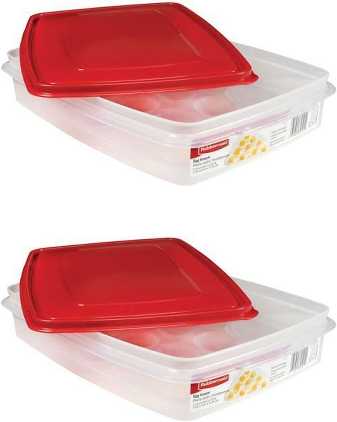 Rubbermaid - Egg Keeper-red Cover, 2 Pk, Holds 20 Jumbo Eggs, Clear, Plastic