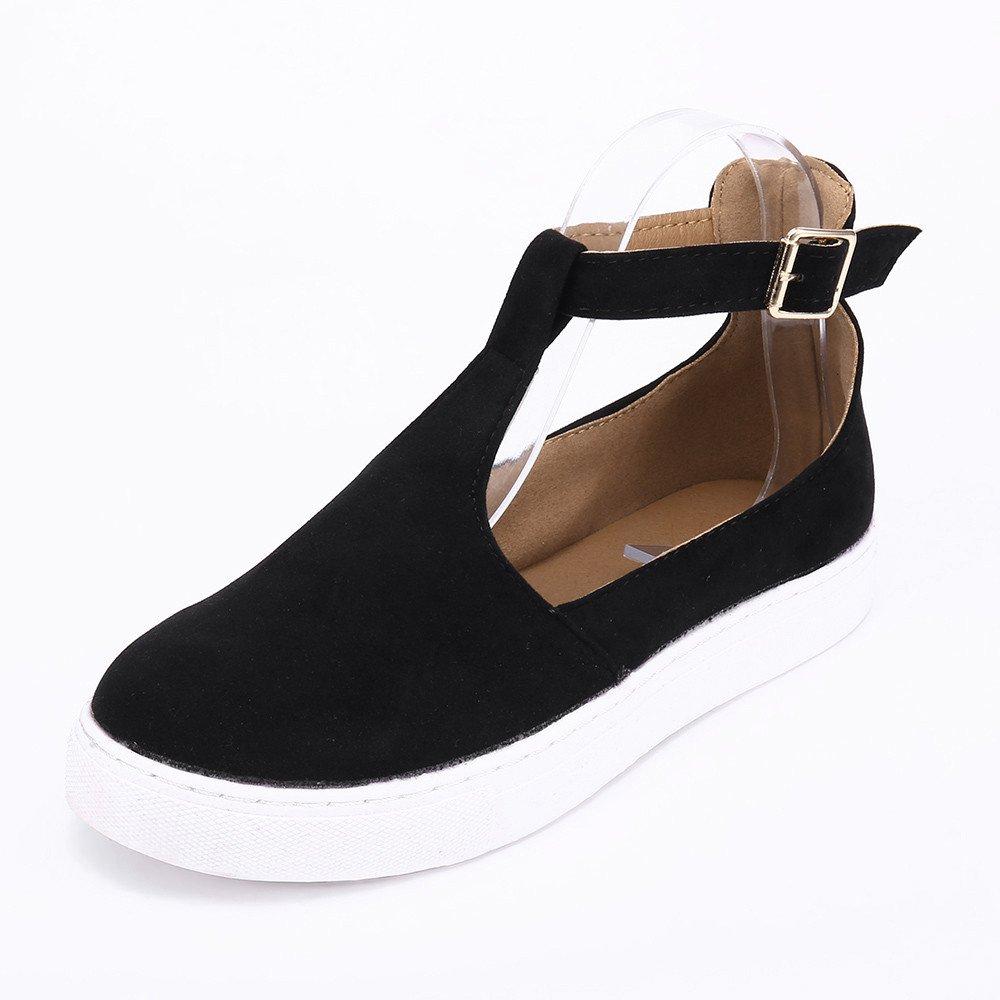 Clearance Sale Shoes For Women ,Farjing Women Vintage Out Shoes Round Toe Platform Flat Heel Buckle Strap Casual Shoes(US:6,Black1)