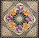 Vintage Crochet PATTERN to make - MOTIF BLOCK Bedspread Pansy Flower Design. NOT a finished item. This is a pattern and/or instructions to make the item only.