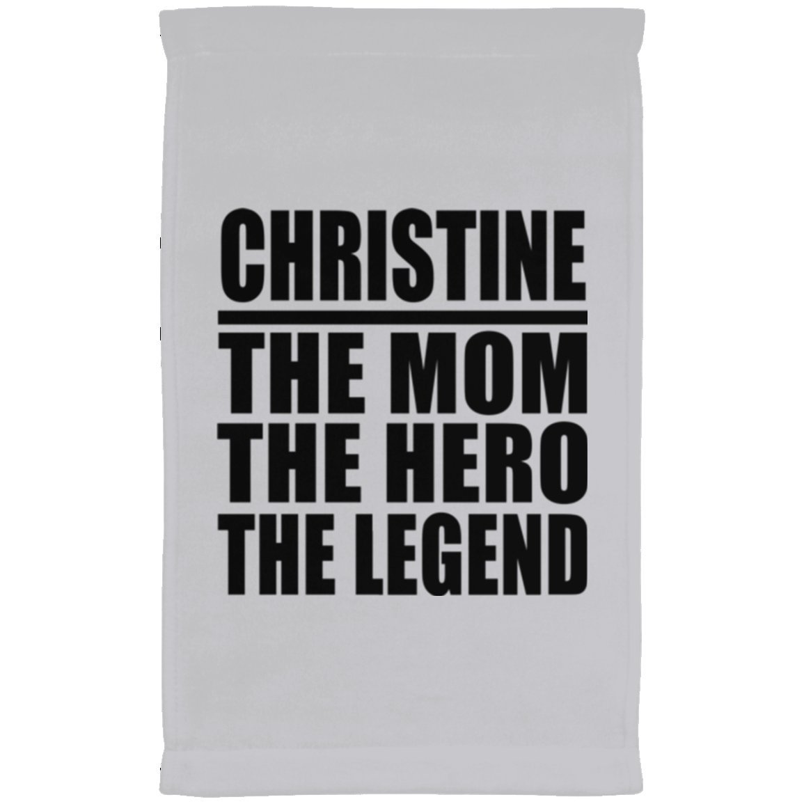 Designsify Mom Towel, Christine The Mom The Hero The Legend - Kitchen Towel, Microfiber Velour Towel, Best Gift with Her Name for Mother, Mum, Parent, Wife from Daughter, Son, Kid, Child, Husband