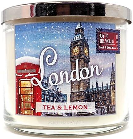 Bath Body Works Candle 3 Wick 14.5 Ounce Joy To The World 2015 London Tea Lemon