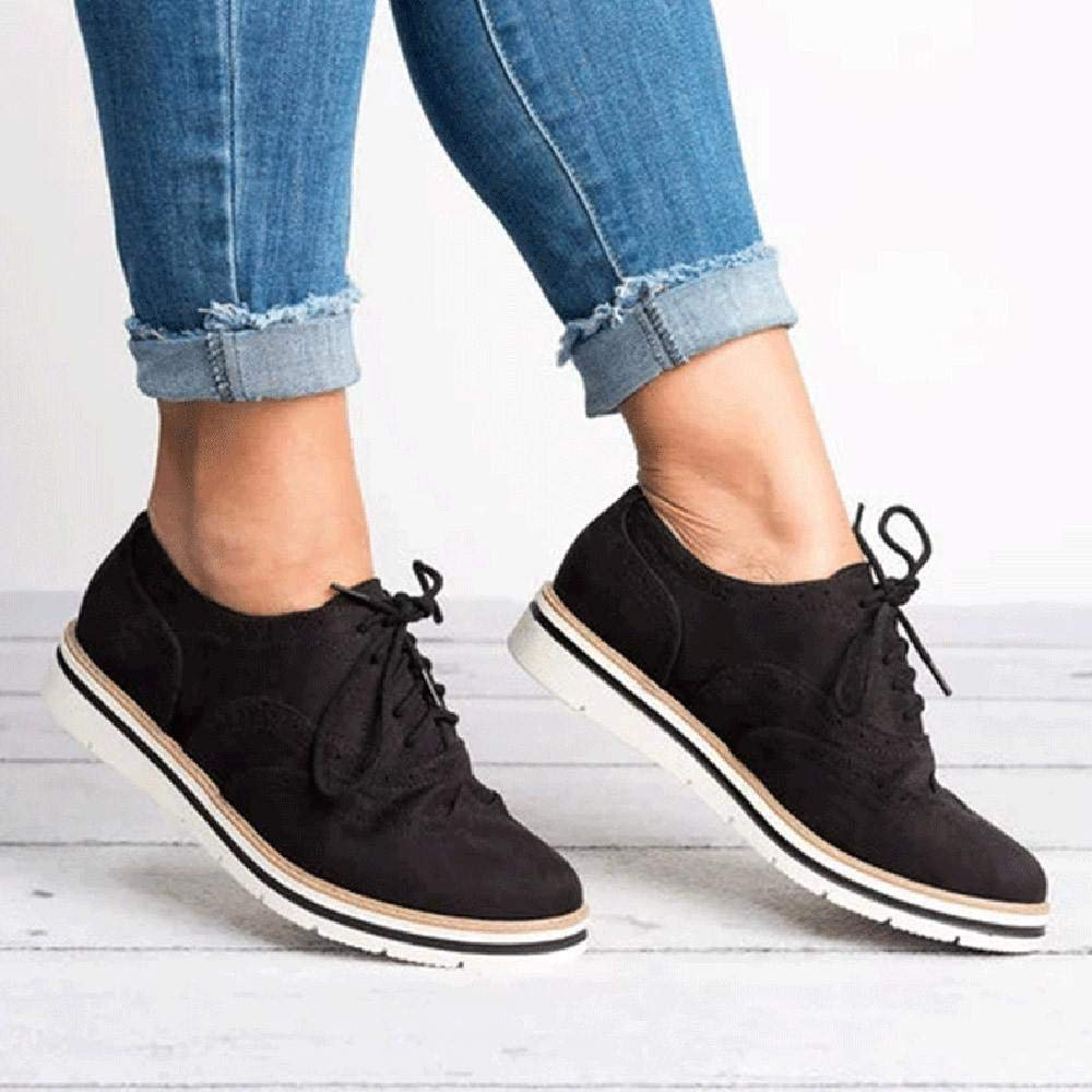 Yesmile Zapatos de mujer❤️Zapatos Punta Redonda de Color Sólido Tobillo de Las Mujeres de Gamuza Plana Zapatos de Cordones Casuales Zapatos Deportivos: ...