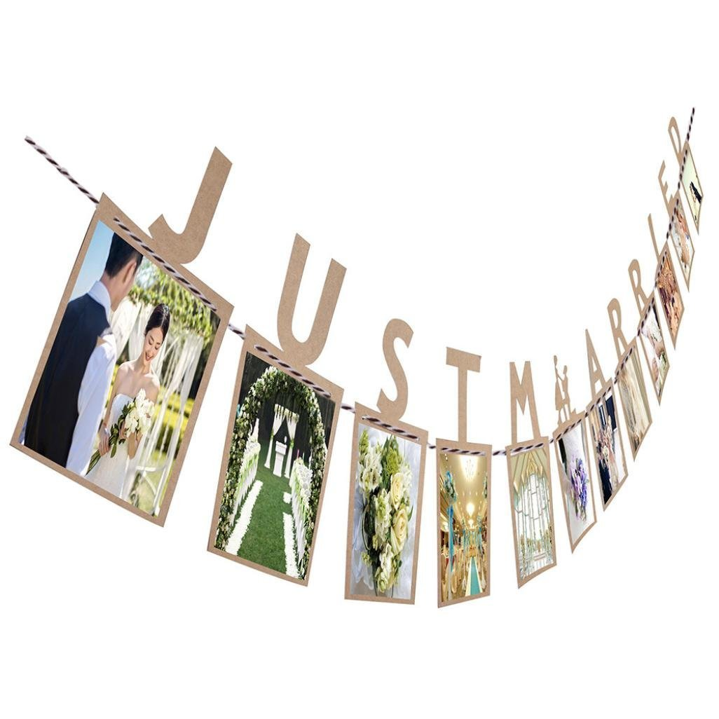 Culater® JUST MARRIED Anniversary Gift Photo Banner DIY Wall Hanging Picture Album Wedding Party Decorations (Brown)