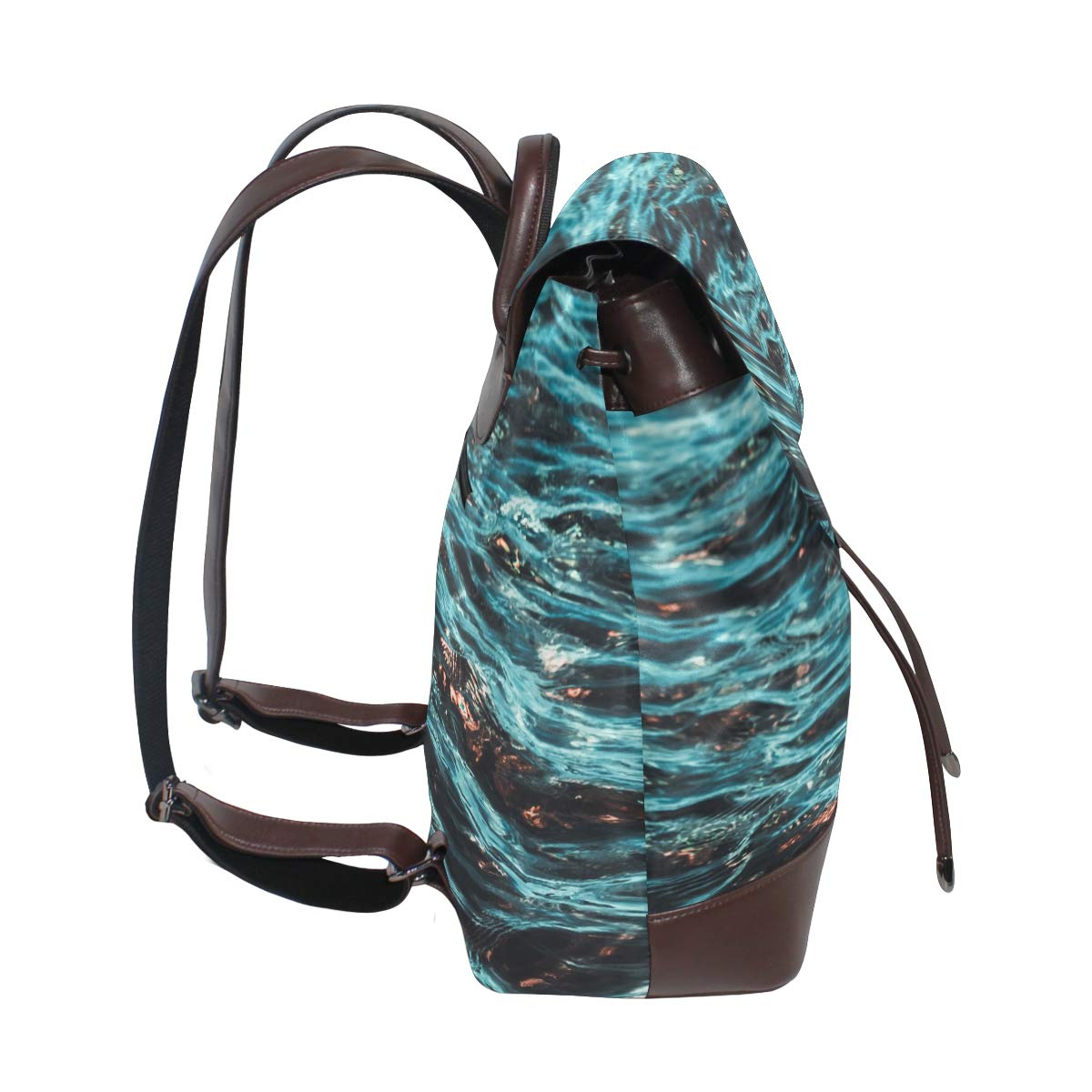 Carrottop Leather Backpack for Women The Night At The Ocean Shoulder Bag Backpack for Casual Daypack