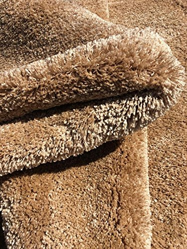 Maxy Home Comfy Luxury Beige 2 ft. 7 in. x 4 ft. 11 in. Premium Shag Area Rug (Furniture Luxury Discount Bedroom)