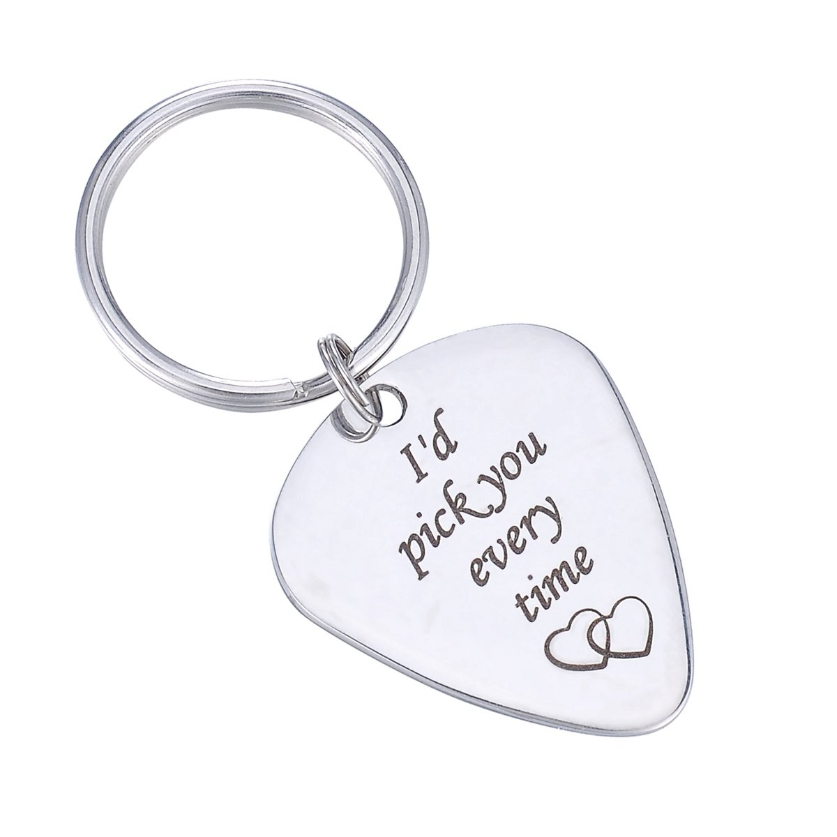 HooAMI I'd pick you every time Guitar Pick Key Chain Key Ring Music Gift for Unisex TY BETY114640