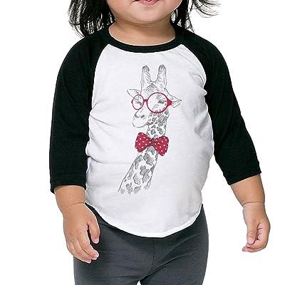 CHENLY Unisex Kid's Sleeves Warm Glasses Giraffe Cotton 3/4 Sleeves T-Shirt For children