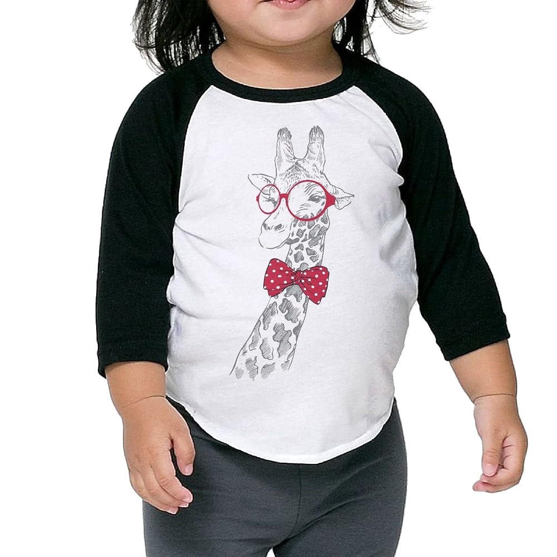 Wholesale CHENLY Unisex Kid's Sleeves Warm Glasses Giraffe Cotton 3/4 Sleeves T-Shirt For children supplier