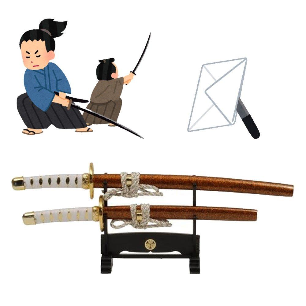 3000-kincha Mini giapponese Samurai//Ninja spada tagliacarte 25,4/x 21,6/cm con supporto