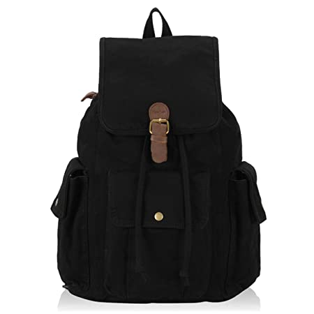 Hynes Eagle Retro Designer Canvas Backpack 26L Black
