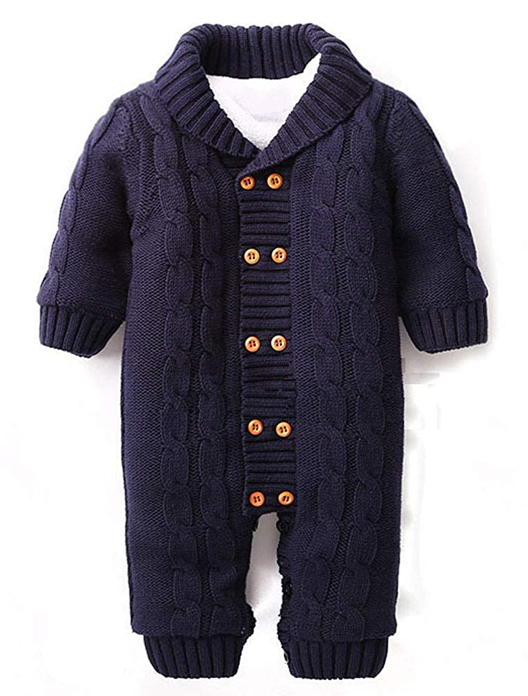 ARAUS Toddler Infant Girls Boys Winter Knitted Romper Jumpsuit Outfit