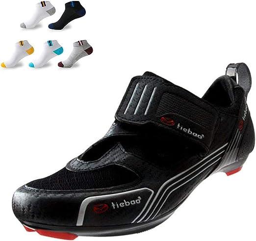 XFQ Adultos Ciclismo Zapatos, Zapatos Carretera Bicicleta De ...