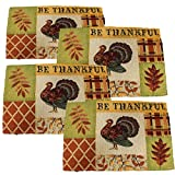 Twisted Anchor Trading Co Set of 4 Be Thankful Turkey Fall Placemats Thanksgiving Tapestry Style Autumn Home Decor - Thanksgiving Placemats
