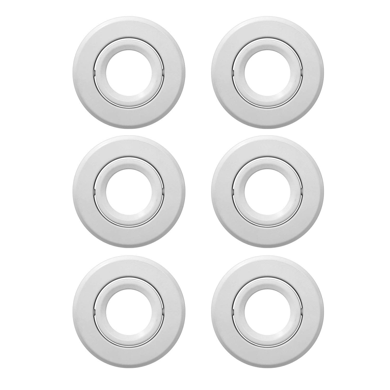 JULLISON 4 inch Recessed Can Light Trim, Adjustable 30°, Gimbal Ring, for 4 inch Line Voltage Recessed Housing Can in Use of PAR20/BR20, Fit Halo/Juno Remodel Recessed Housing, White - 6 Packs …